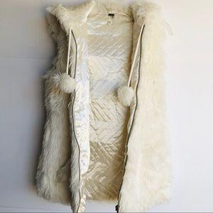 I Love H81 White Faux Fur Vest